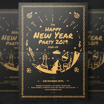 Nieuwjaar partij flyer sjabloon