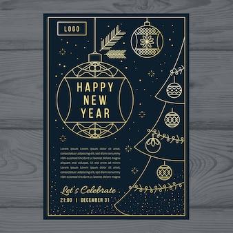 Nieuwjaar partij poster sjabloon in kaderstijl