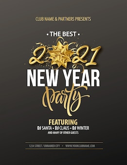 Nieuwjaar partij typografie poster met gouden realistische inscriptie, cadeau boog, gouden klatergoud en gouden confetti op een zwarte achtergrond.
