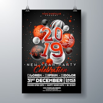 Nieuwjaar partij viering poster sjabloon