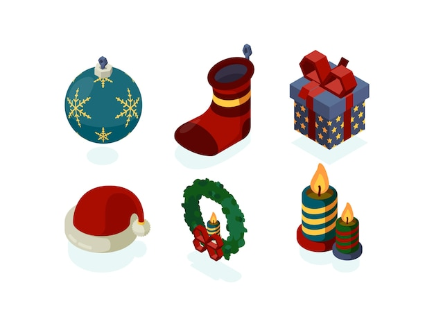 Nieuwjaar pictogrammen. xmas accessoires geschenken boom lantaarn sneeuwbol noel santa isometrische set