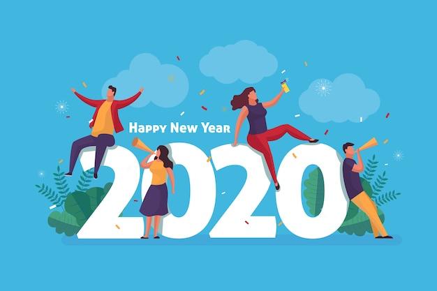 Nieuwjaar platte achtergrond