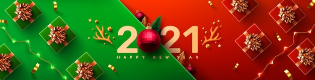 Nieuwjaar promotie poster of banner met geschenkdoos
