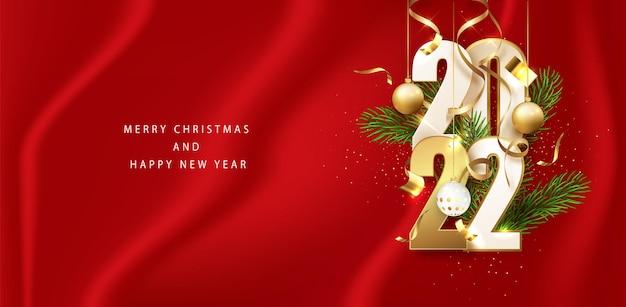 Nieuwjaar rode banner 2022 gouden glitter nummers. horizontale vakantieaffiche, wenskaart, headers voor website. gelukkig nieuwjaar.