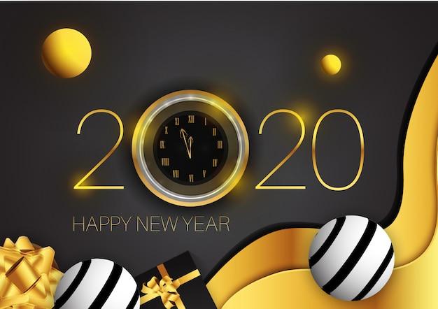 Nieuwjaar schijnt achtergrond met gouden klok glitter, gouden geschenkdoos en abstracte moderne vorm