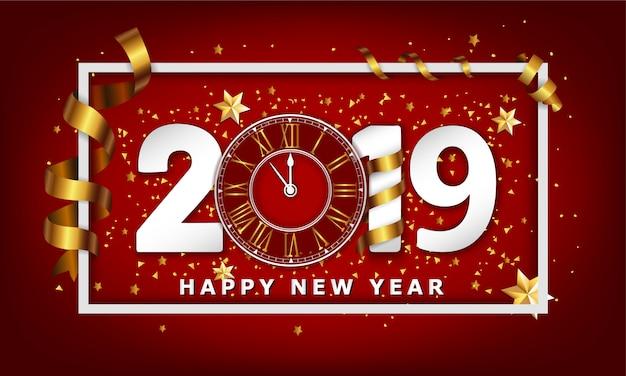 Nieuwjaar typografische achtergrond 2019 met klok