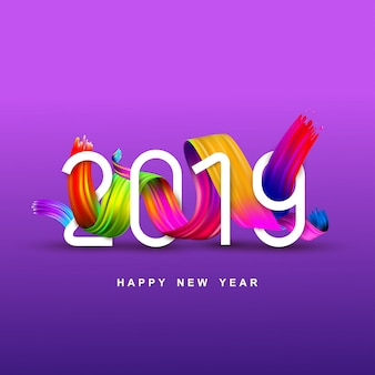 Nieuwjaar van een kleurrijke borstel