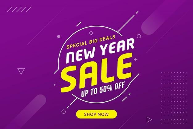 Nieuwjaar verkoop korting banner sjabloon promotie