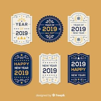Nieuwjaar vintage badges collectie