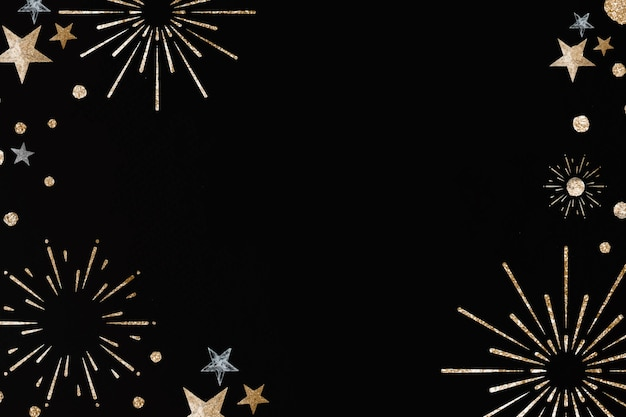 Nieuwjaar vuurwerk feestelijke frame zwarte achtergrond