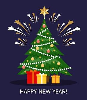 Nieuwjaar wenskaart met kerstboom, versieringen, geschenken en vuurwerk. vrolijk kerstfeest en een gelukkig nieuwjaar.