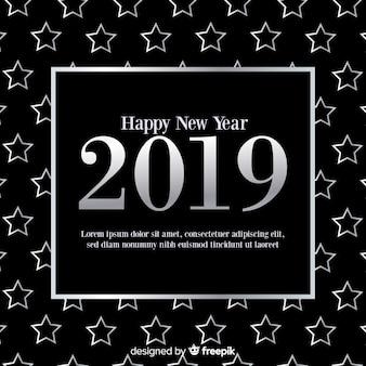 Nieuwjaar zilveren sterren achtergrond