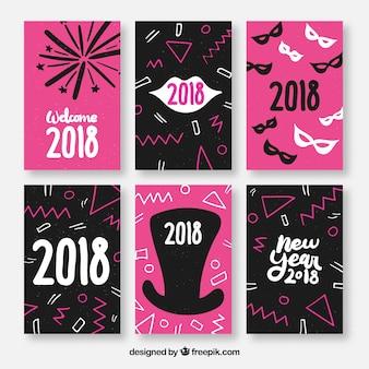 Nieuwjaars ansichtkaarten in roze en zwart