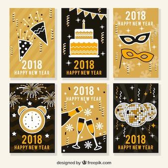 Nieuwjaars ansichtkaarten in zwart en goud