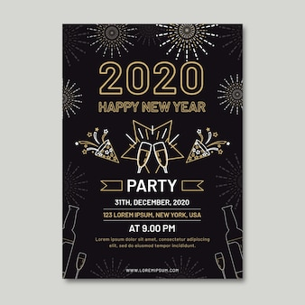 Nieuwjaars feest folder sjabloon in kaderstijl