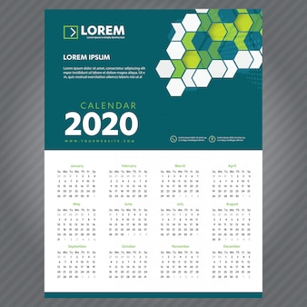 Nieuwjaars kalender 2020-sjabloon
