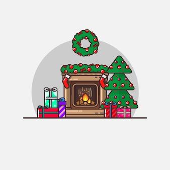 Nieuwjaars kerst illustratie