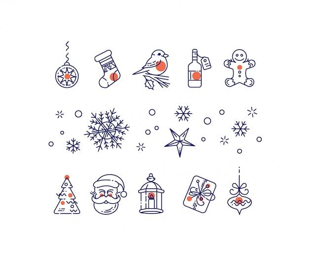 Nieuwjaars lijn pictogrammen instellen.