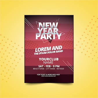 Nieuwjaars partij poster of flyer uitnodiging sjabloon