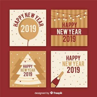 Nieuwjaars sepia kaartenpak