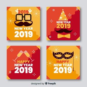 Nieuwjaars vlak lichtenkaartenpak
