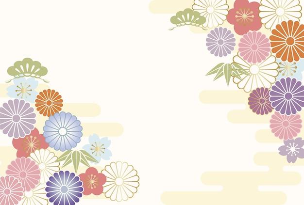 Nieuwjaars wenskaartsjabloon versierd met japanse vintage charms.
