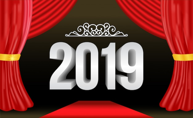 Nieuwjaars zilveren nummer met rood gordijn