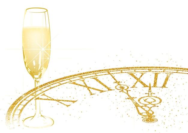 Nieuwjaarsachtergrond met champagneglas en gouden glinsterende wijzerplaat