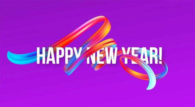Nieuwjaarsbanner 2019 met een kleurrijke penseelstreekolie of acrylverf