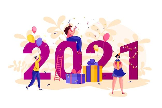 Nieuwjaarsbanner 2021. mensen rond grote aantallen. vlakke stijl mannen en vrouwen partij. partij concept