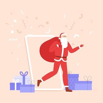 Nieuwjaarsbanner of banner voor sociale media met de kerstman die uit de telefoon komt met een enorme zak met geschenken.