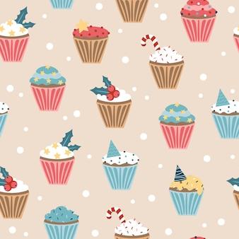 Nieuwjaarscupcake. naadloze patroon. kerstset van cupcakes en muffins