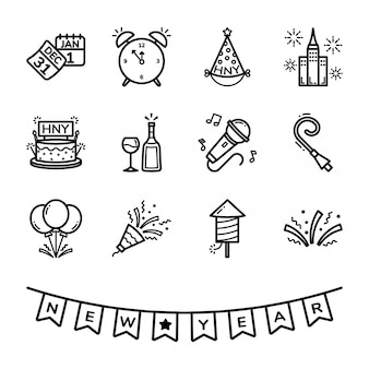 Nieuwjaarsdag icon set