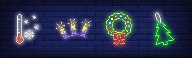 Nieuwjaarsdecoratiesymbolen in neonstijl