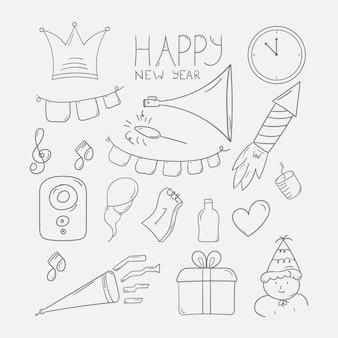 Nieuwjaarsfeest doodle in lijntekeningen