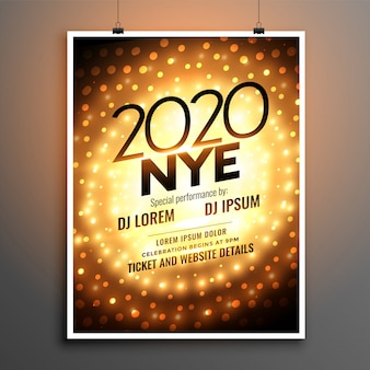 Nieuwjaarsfeest flyer of poster sjabloon voor het jaar 2020