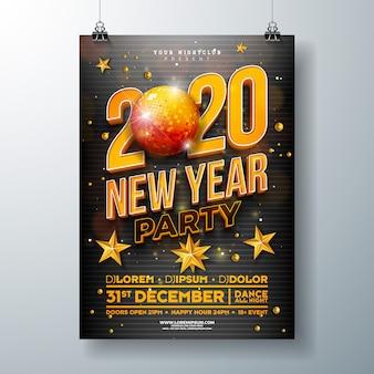 Nieuwjaarsfeest poster sjabloonontwerp
