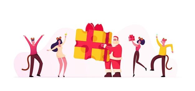 Nieuwjaarsfeest viering concept. cartoon vlakke afbeelding