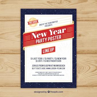 Nieuwjaarsfeestaffiche in wit, rood en donkerblauw