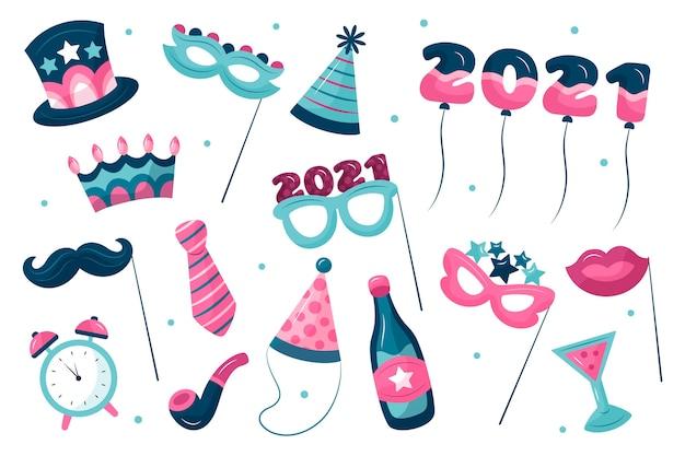 Nieuwjaarsfeestelementen in blauwe en roze tinten