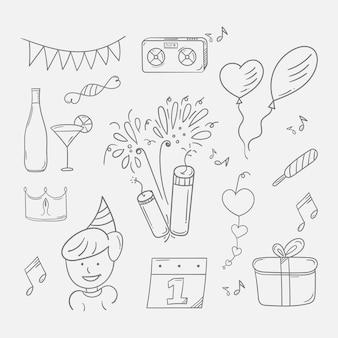 Nieuwjaarsfeestje doodle achtergrond in zwart