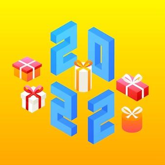 Nieuwjaarsgeschenken voor 2022. vectorillustratie van getallen teken isometrie.