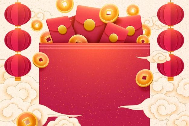 Nieuwjaarsgroetposter met geluksgeld in papieren kunststijl, lege rode envelop voor ontwerpgebruik