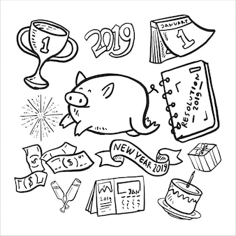 Nieuwjaarsjaar 2017 doodle icon set