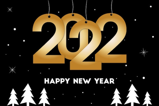 Nieuwjaarskaart 2022 zwarte en gouden achtergrond van gelukkig nieuwjaar