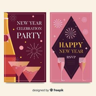 Nieuwjaarskaart met champagnekaarten