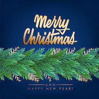 Nieuwjaarskaart met een groene slinger van kerstboomtakken met decoraties en letters