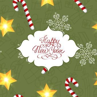Nieuwjaarskaart met groeten tekst in elegante frame snoep sneeuwvlok en glanzende ster vectorillustratie