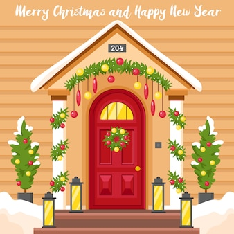 Nieuwjaarskaart met huis ingericht voor kerstmis