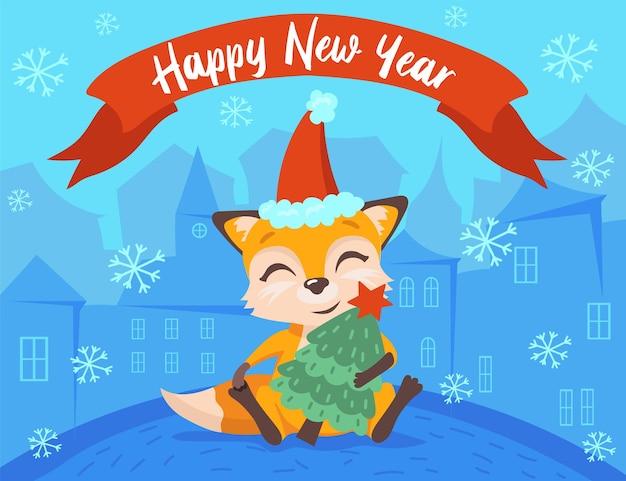 Nieuwjaarskaart met lachend voskarakter in besneeuwde stad